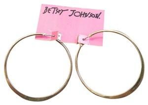 Betsey Johnson Betsey Johnson Medium Silver Tone Knife Edge Hoop Earrings