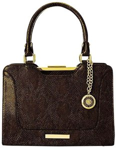 Anne Klein Faux Leather Snake-like Skin Frame Satchel in Black/Chocolate Brown