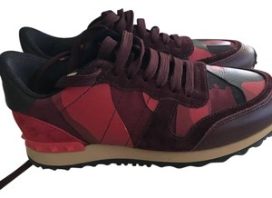 Valentino Rockstud Camouflage Sneakers Red Athletic