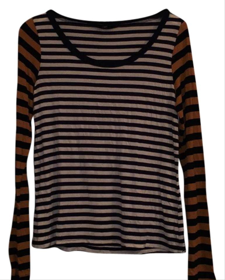 Pullover White Sweater Navy James Elizabeth and with Tan Stripes wxv48R4q