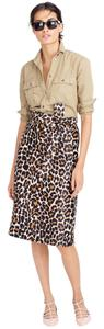 J.Crew Leopard 0 Tie Waist Skirt Black and Brown
