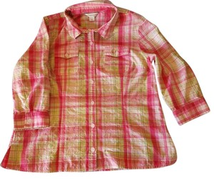 Christopher & Banks Pink Plaid Cotton Rollup Button Front Top Pink white