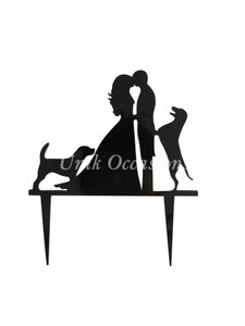 Unik Occasions Bride Groom And Two Dogs Silhouette Cake Topper