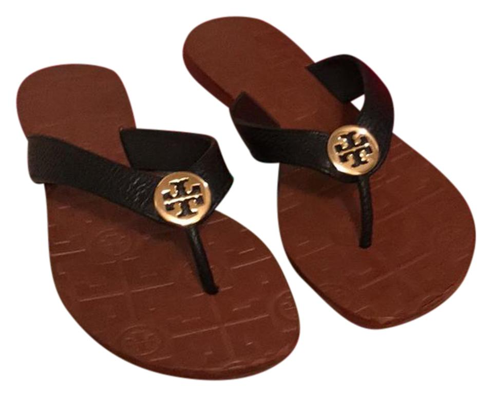 Tory Burch Black/ Brown Thora New with Gift Box Thora Brown Tumbled Leather Sandals 088f30