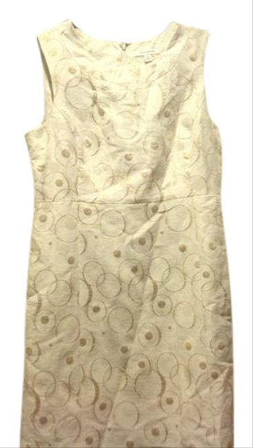 Item - Gold and Beige Embroidered Special Occasion Mid-length Work/Office Dress Size 14 (L)