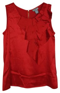 Ellavie 100% Silk Sleeveless Sz8 Top red