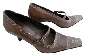 Via Spiga Leather Mary Jane Brown Pumps
