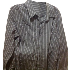 The Limited Stripe Button Up Front. Button Down Shirt Dark gray with fine blue lines