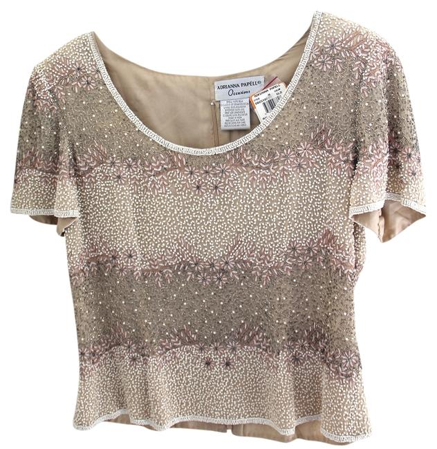 Adrianna Papell Party Sequin Sequin Evening Top Beige/Gold/embellished