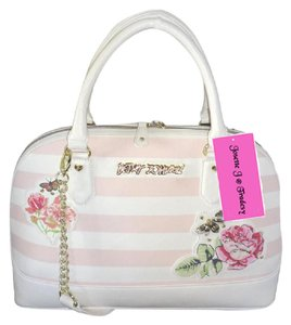 Betsey Johnson Dome Zipper Closure Stripe Satchel in bone/blush