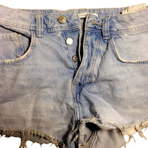 Zara Cut Off Shorts Light Blue