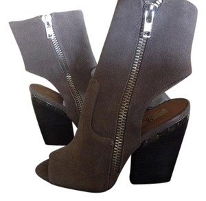 MIA Limited Suede Ankle Open Toe Zip Mushroom/Grey Boots