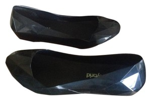 United Nude Jelly Black Black Rubber Flats