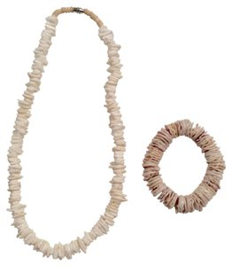 Sea Shell Nature Necklace & Stretchy Bracelet Jewelry Set
