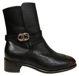Chanel Quilted Biker Combat Ankle Leather black Boots