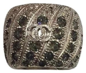 Chanel Eu 52 Silver Tone Crystal Ring