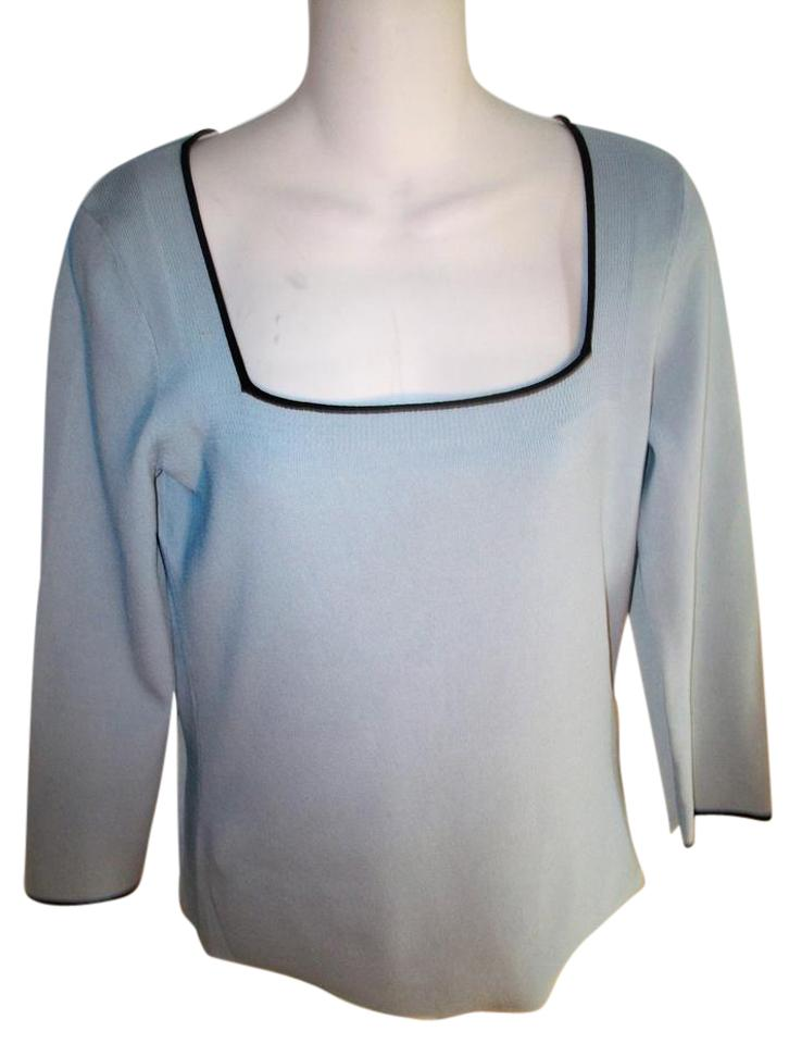 Cable & Gauge Light Blue Viscose/Rayon Square Neck Long Sleeve ...