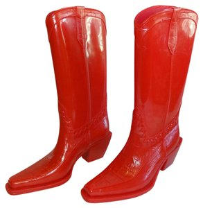 Donald J. Pliner red orange Boots