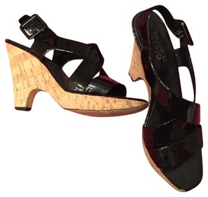 Franco Sarto Trendy Stylish Night Out Black and Cork wedge Wedges