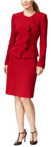 Tahari Tahari ASL Womens Monica Red Ruffled 2PC Skirt Suit 16