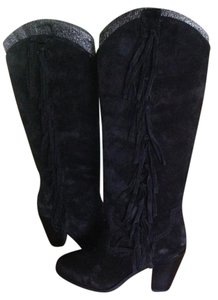 Ash Tall Fringe Black Suede Boots