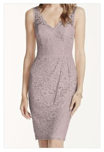 David's Bridal Cameo Short Tank Lace Dress With V Neckline Dress