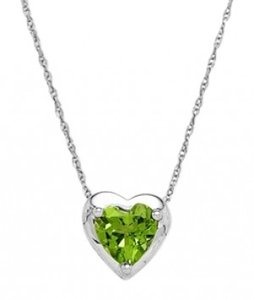 Jared 10K White Gold Peridot Heart Necklace