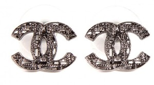 Chanel Tweed Lattice Cutout Cc Logo Silver Clic A64609 14a Stud