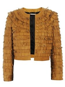 Diane von Furstenberg Dvf Leather Fringe Biker Caramel Leather Jacket