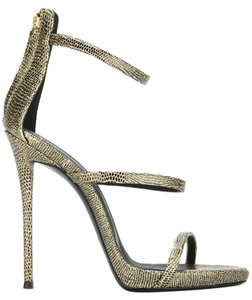 Giuseppe Zanotti Lizard Effect Gold Black Sandals