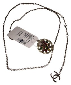 Chanel Jewel Pearl Enamel Embellished Medallion Chain Belt Necklace