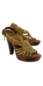 Frye Brown Leather Woven Heels Sandals