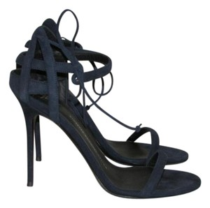 Giuseppe Zanotti Navy Blue Suede Sandals