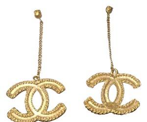 Chanel Chanel XL double cc logo gold dangling earrings