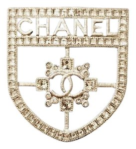 Chanel Rhinestone Crest Shield Pin