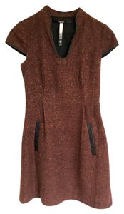 Kensie Tweed Leather Trim Dress