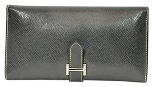 Herms Authentic Hermes Graphite Epsom Leather Bifold Purse Long Wallet