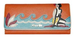 Prada Authentic Vintage Prada Orange Leather Long Wallet