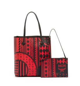 MCM Leather Tote in Ruby Red