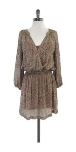 Joie short dress Brown & Grey Speckled Print Silk on Tradesy