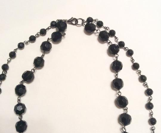 Other Black Bead Double Layer Chain Charms Trinket Necklace Pendant