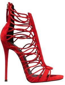 Giuseppe Zanotti Red Suede Cage Sandals