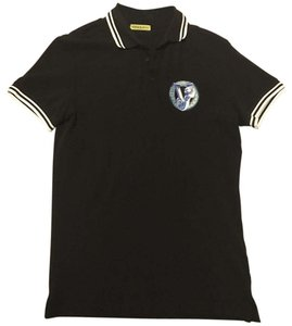 Versace Button Down Shirt Primarily Black. Logo Royal Blue