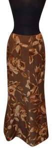 Blumarine Floral Brown Floor Length Maxi Skirt Brown Floral