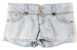 Grane High Waisted Oversized Cuffed Shorts Light Blue Wash