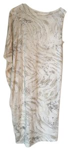 L'AGENCE short dress Light Grey with Beige Detailing Asymmetrical Sheer Textured Draped Draping Arm on Tradesy