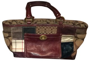 Coach Tote in brown , green, beige patches