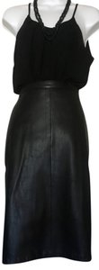 Leather Dynamics Lined Leather Just Below The Knee Pencil Skirt Black