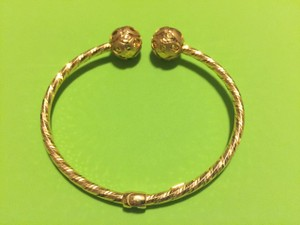 Other 18K Yellow Gold Bead Cuff Bangle Bracelet