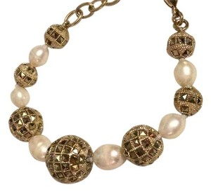 Valentino Pave Crystal Faux Pearl Jewel Rhinestone Embelished Ball Bracelet